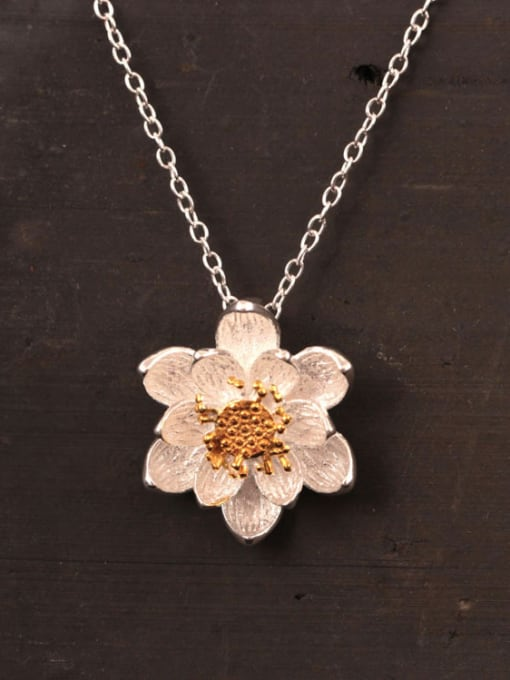SILVER MI Lotus Flower Women Clavicle Necklace