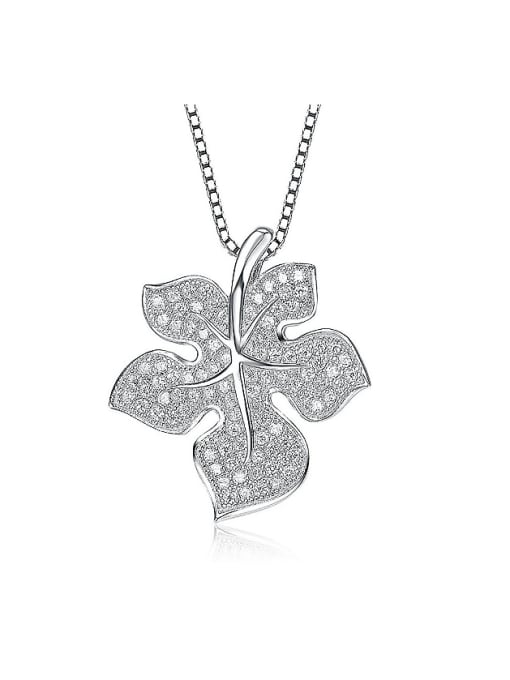 One Silver All-match Leaf Shaped Zircon Pendant