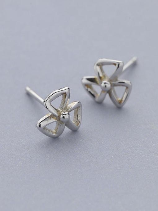 One Silver Women Fashion Bowknot Shaped stud Earring 0