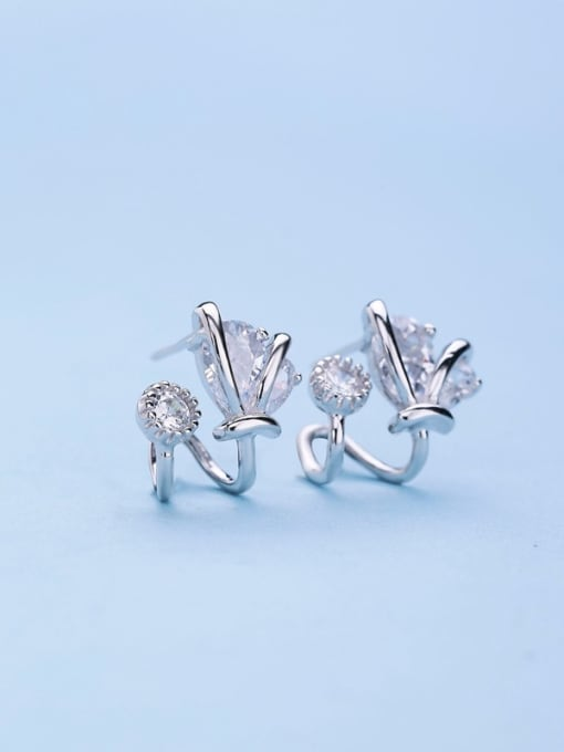 One Silver All-match Geometric Shaped Zircon stud Earring