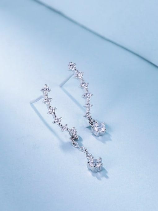 One Silver Trendy Round Shaped Zircon cuff earring