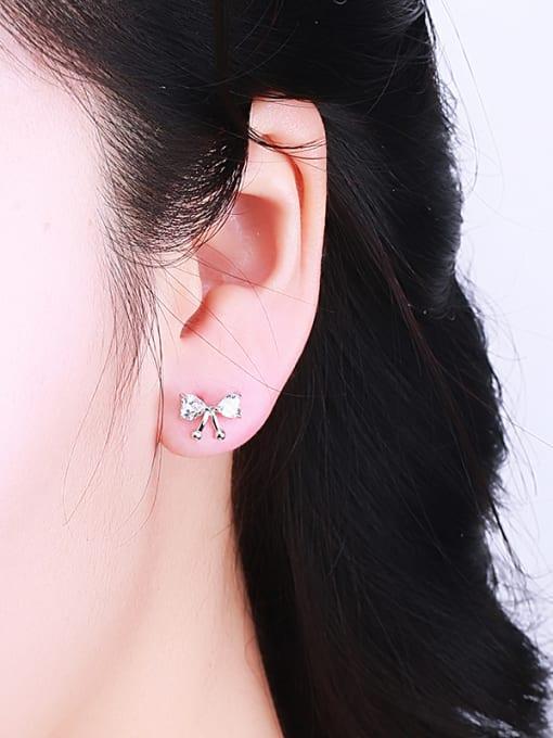 One Silver Women Bowknot Shaped Zircon earring 1
