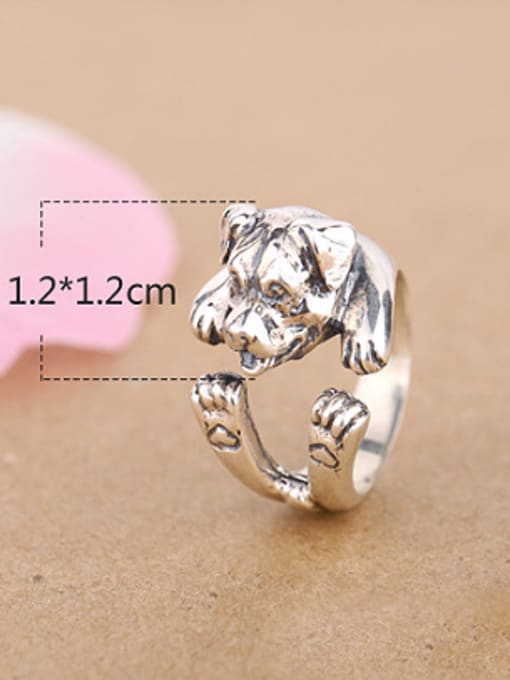 Peng Yuan Personalized Puppy Silver Opening Statement Ring 3