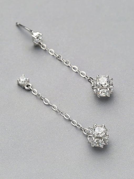 White 925 Silver Zircon Stud threader earring