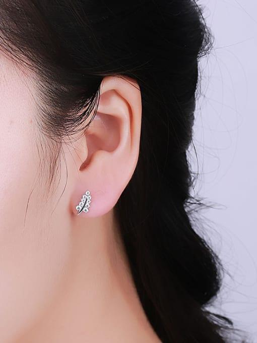 One Silver Women Leaf Shaped Zircon Earrings 1