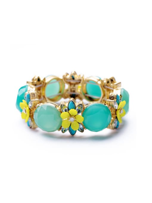 Blue Gold Plated Color Stones Bangle