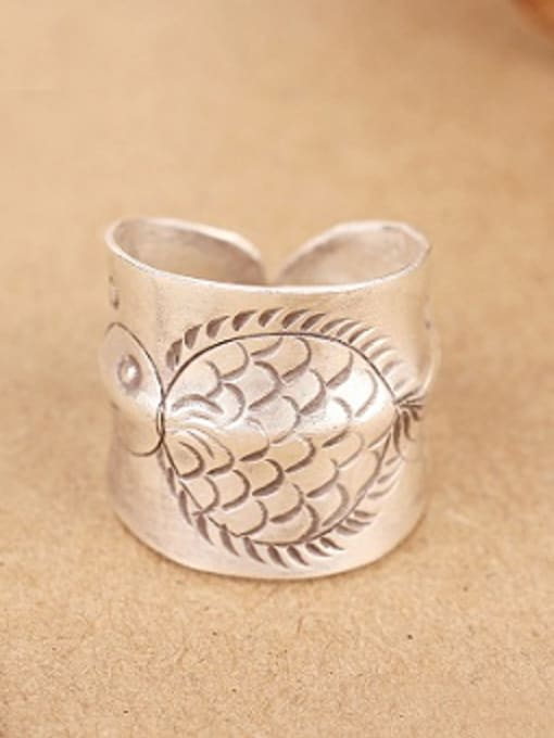 Peng Yuan Ethnic Handmade Silver Fish-etched Ring 0