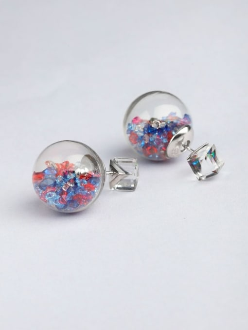 multi-color S925 silver 16m glass stud Earring are all-match Tremella nail