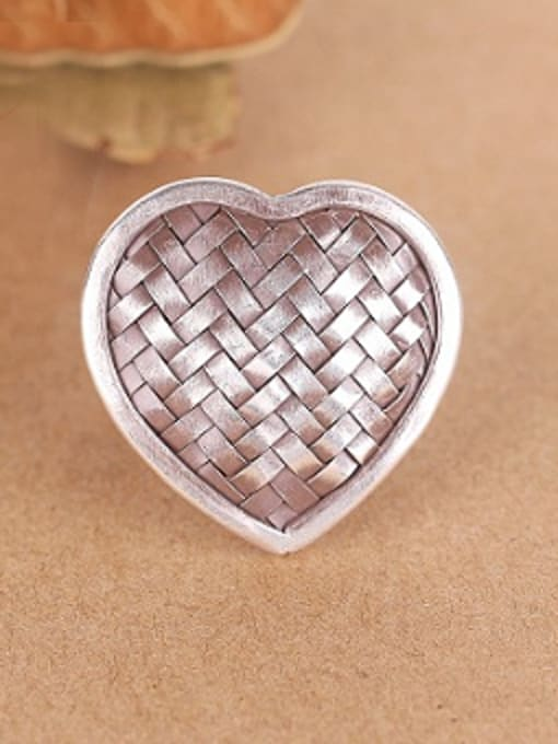 Peng Yuan Heart-shaped Woven Handmade Silver Ring