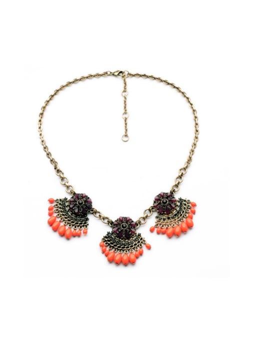 Orange Luxury Leave-shape Women Necklace