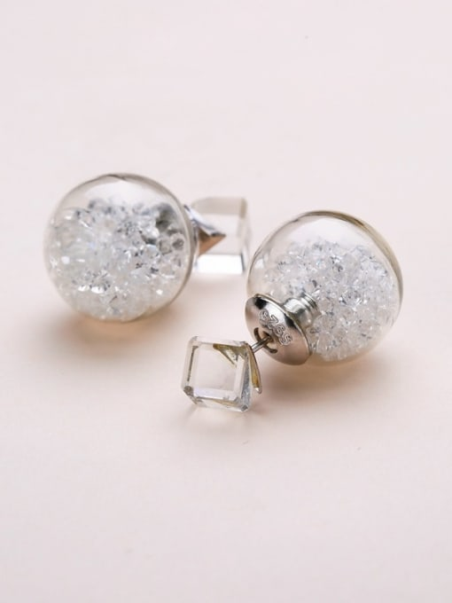 White S925 silver 16m glass stud Earring are all-match Tremella nail