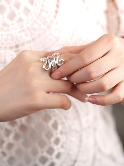 Peng Yuan Personalized Two-layer Handmade Silver Ring 1