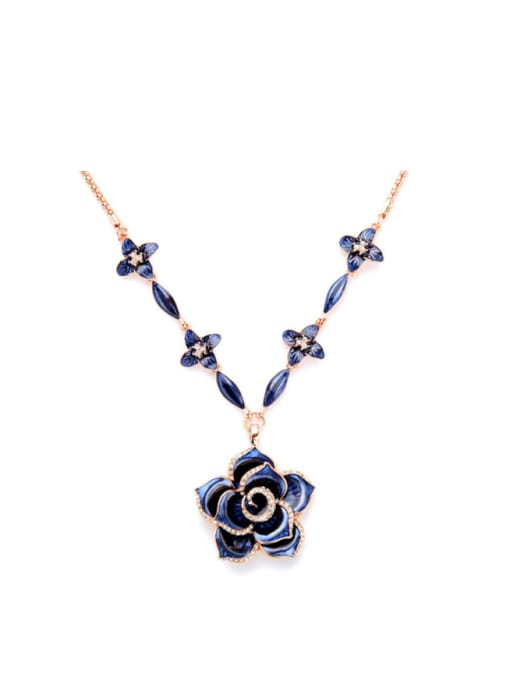 KM Rose Gold Plated Flower Necklace 0