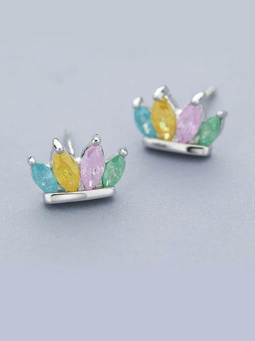 One Silver Women Colorful Zircon stud Earring