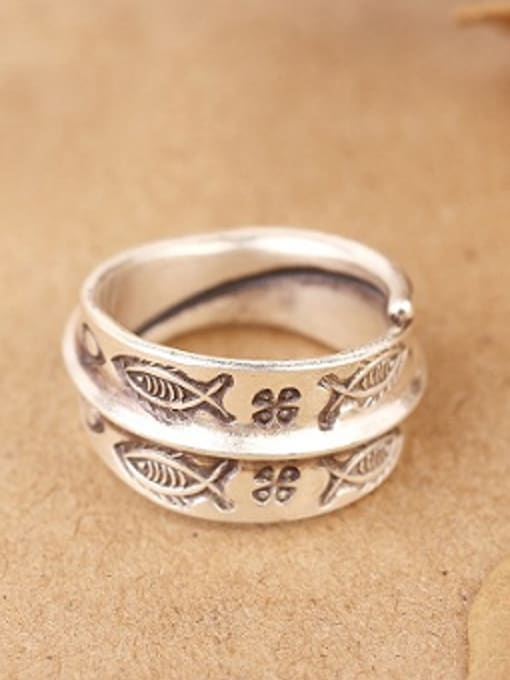 Peng Yuan Personalized Little Fishes Opening Handmade Ring 0