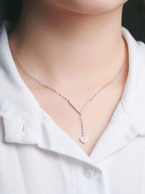 Peng Yuan Simple Heart-shaped Zircon Necklace 1