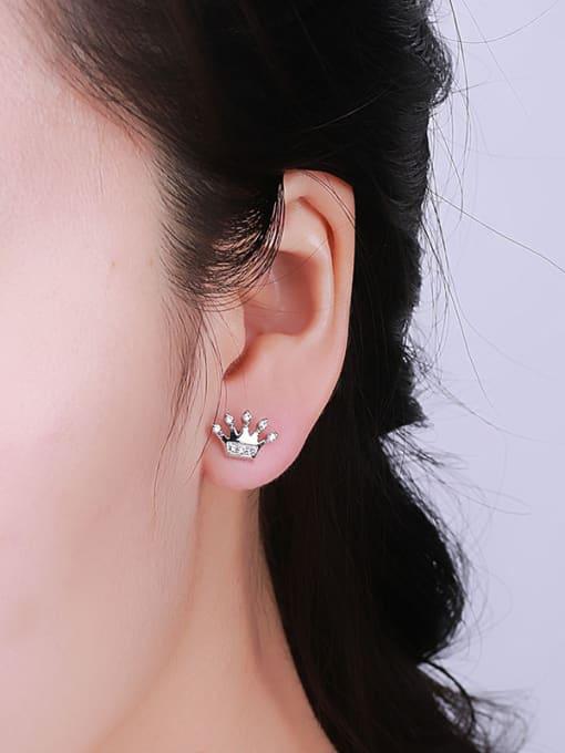 One Silver 925 Silver Crown Shaped Zircon Earrings 1