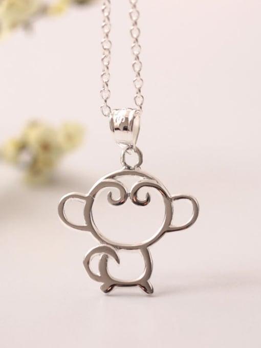 SILVER MI Lovely Monkey Silver Clavicle Necklace