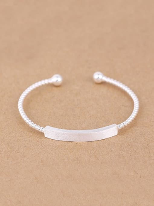 Peng Yuan Simple Twisted Silver Opening Bangle 0