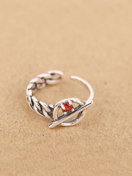 Peng Yuan Retro Zircon Chain Opening Midi Ring