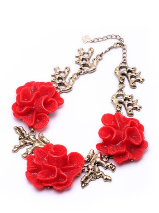 KM Red Flower Exaggerate Women Necklace 1