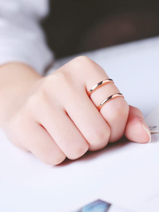 Peng Yuan Simple Two-band Rose Gold Plated Ring 1