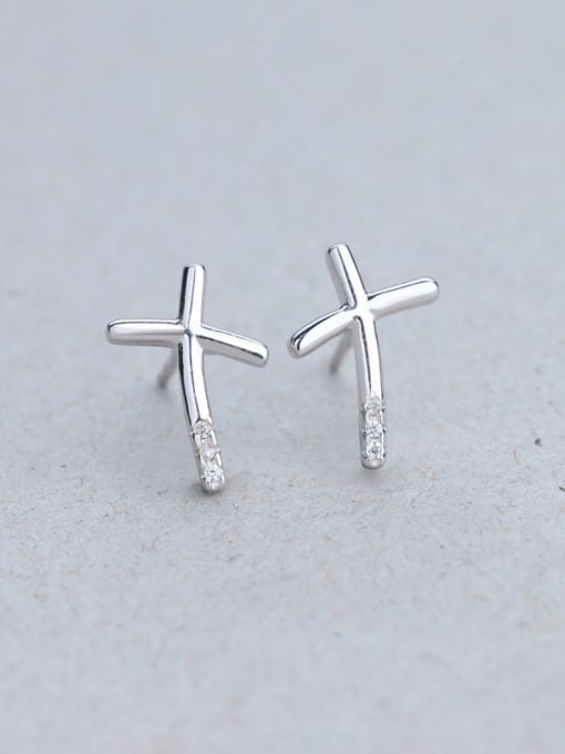 One Silver Simply Style Number Ten stud Earring