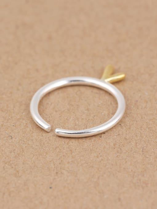 Peng Yuan Simple V-shaped Silver Opening Midi Ring 2