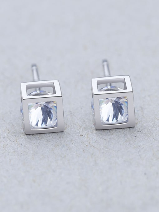One Silver 925 Silver Temperament Square stud Earring 2