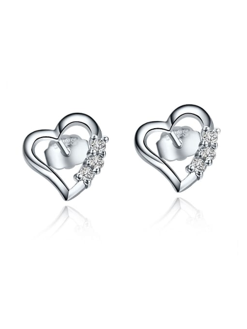 One Silver All-match Heart Shaped Zircon stud Earring 0