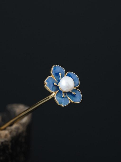 SILVER MI S925 Silver Enamel Flower Hair Pick 0