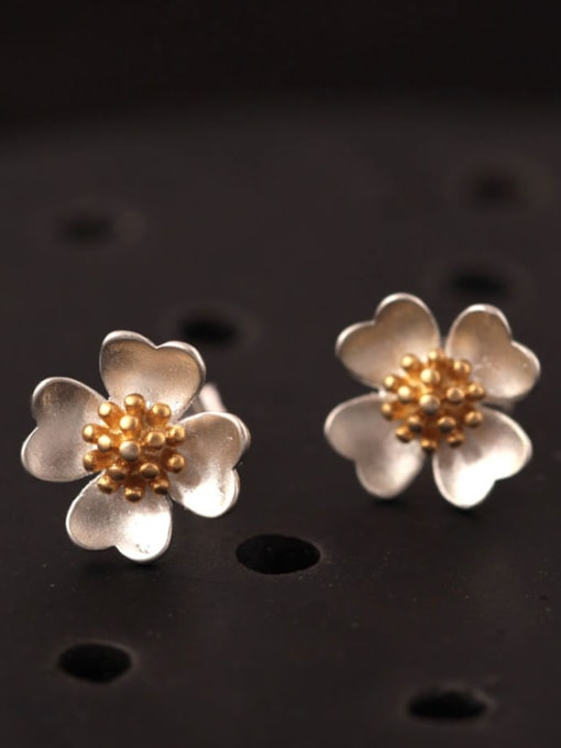 SILVER MI Lovely Flower Color Plated stud Earring 0