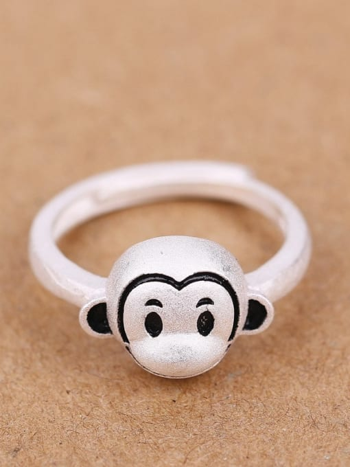 Peng Yuan Lovely Zodiac Monkey Silver Ring 0
