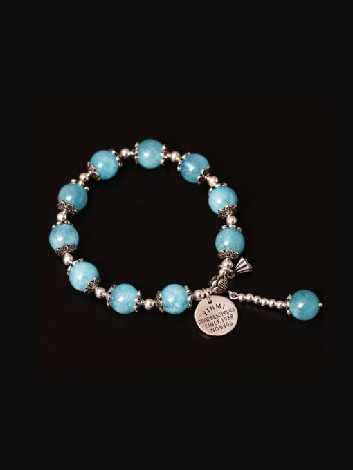 SILVER MI Handmade Lotus Aquamarine Crystal Bracelets