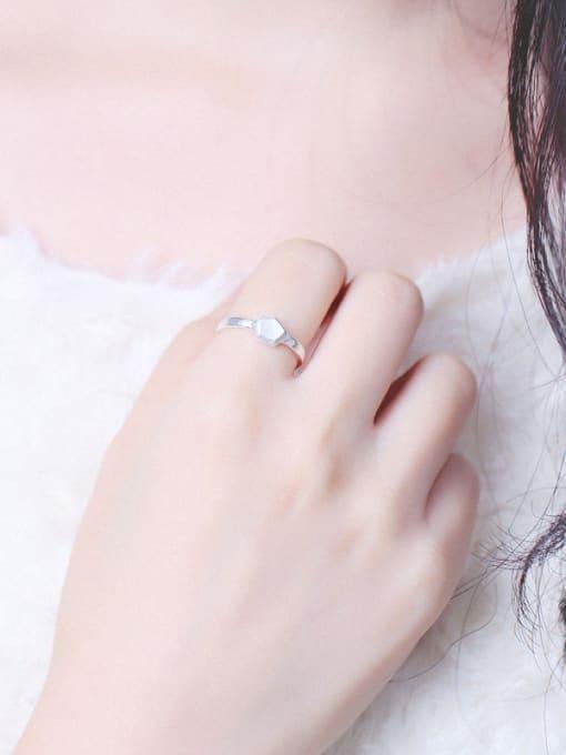 Peng Yuan Simple Geometrical Silver Opening Ring 1