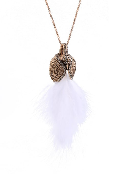 KM Swan Feather Pendant Sweater Necklace 2