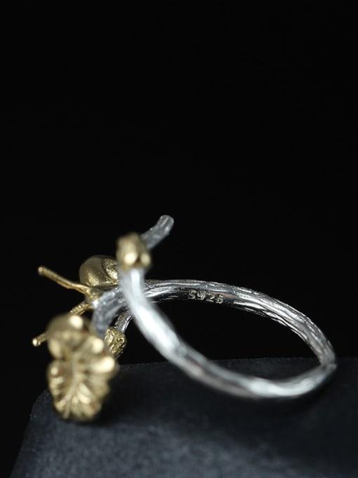 SILVER MI Fresh Lotus Leaf Lovely Snail Adjustable Ring 2