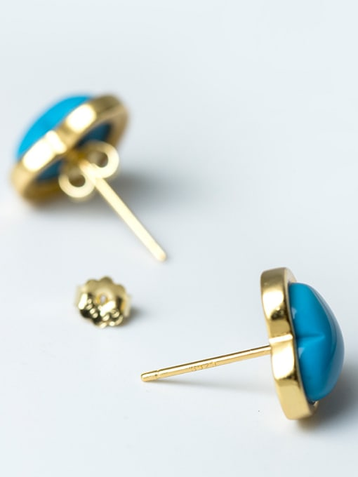 SILVER MI Turquoise Anti Allergy Silver stud Earring 2
