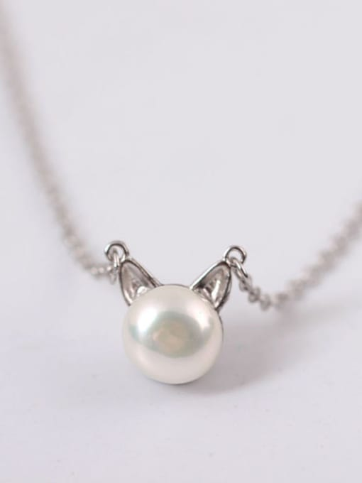 SILVER MI Exquisite S925 Silver Lovely Cat Clavicle Necklace