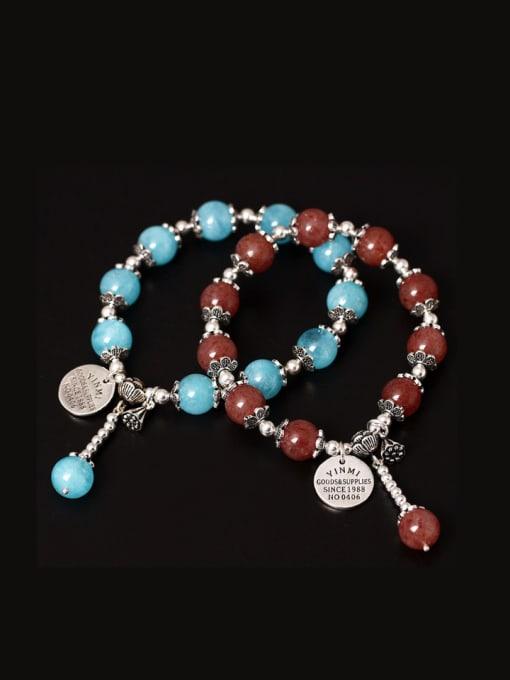 SILVER MI Handmade Lotus Aquamarine Crystal Bracelets 2