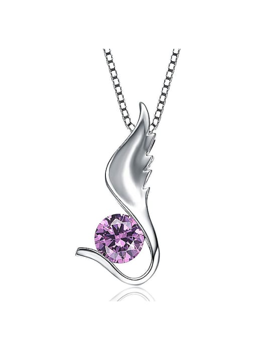 One Silver 925 Silver Purple Zircon Pendant 0