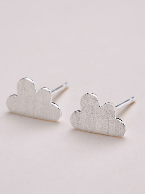 One Silver Women Cloud Shaped Stud Earrings 2