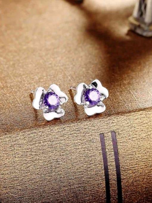 One Silver Women Purple Zircon Flower stud Earring 1