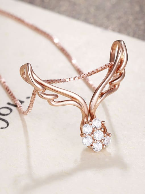 One Silver Rose Gold Plated Wings Zircon Pendant 3