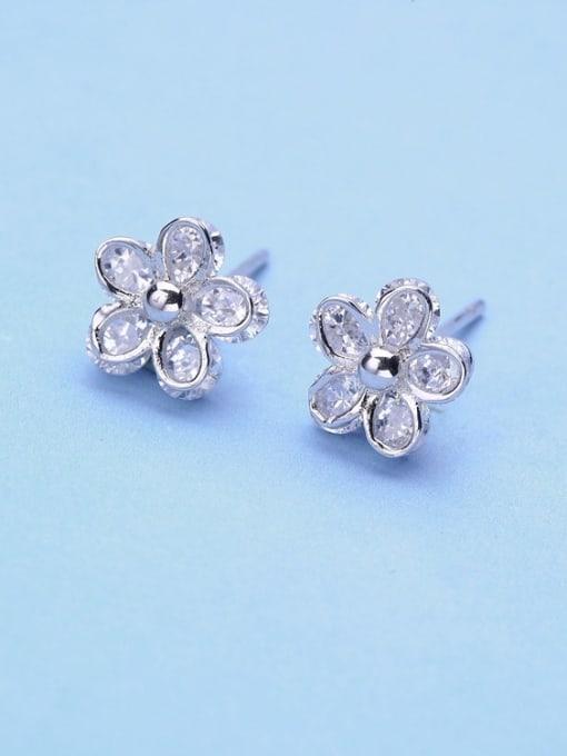 One Silver Women Flower Shaped Zircon Earrings 2