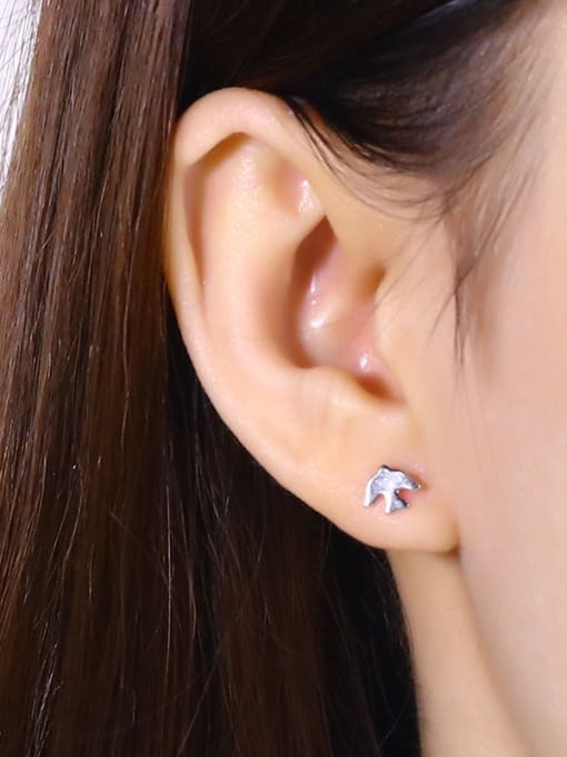 One Silver Korean Style Bird Shaped stud Earring 1