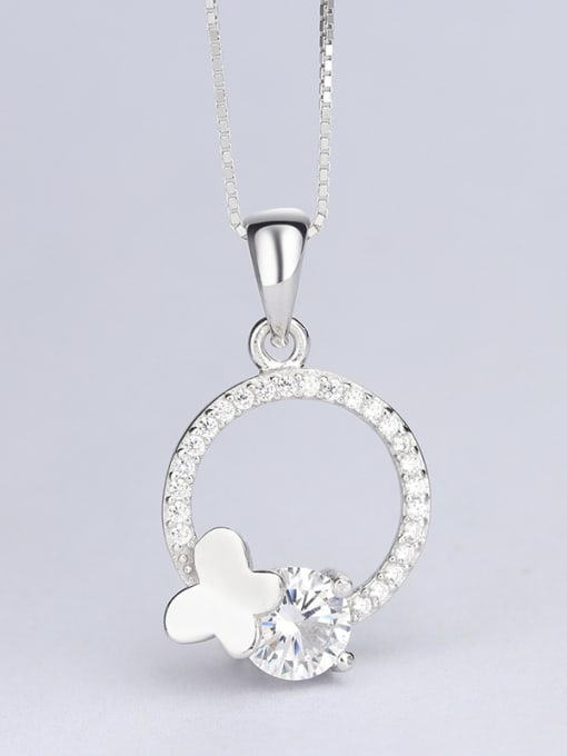 One Silver Women Round Shaped Zircon Pendant 2