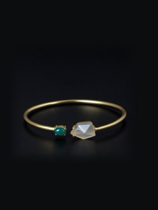 SILVER MI Gold Plated Stones Simple Opening Bangle