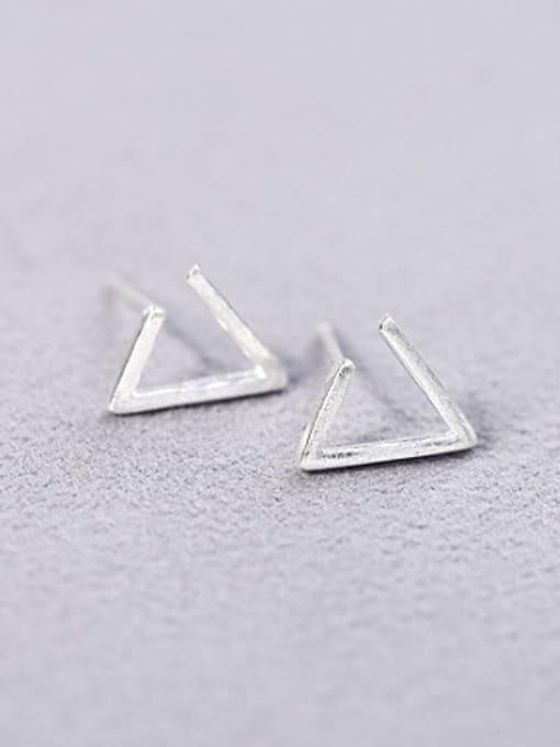 Peng Yuan Simple Triangle-shaped Silver Stud Earrings 3