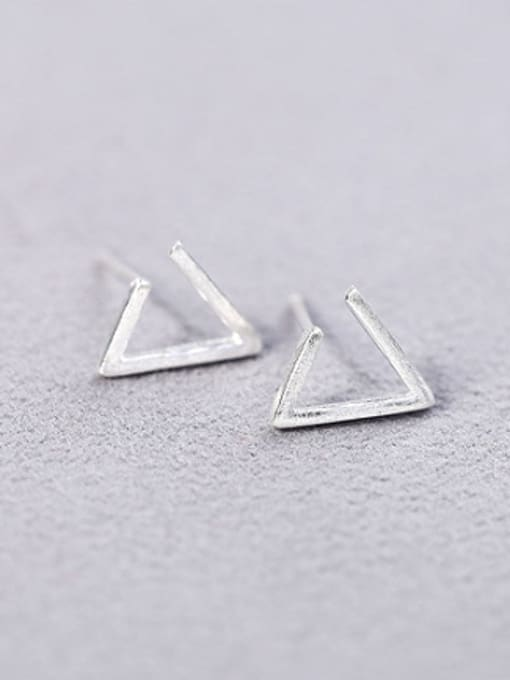 white Simple Triangle-shaped Silver Stud Earrings